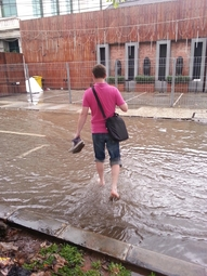 I could only reach the office today by crossing the flooded streets