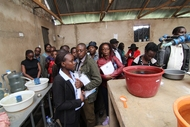 Training day at Kenyan fish farm on aquaculture in arid regions