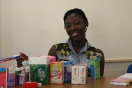 EnterWASH participant Senam brought along her products to the training
