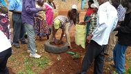 KwaVonza residents using old sacks and tyres to grow crops