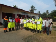 The YEPer with Medair staff and trained emptyers in Maroantsetra Madagascar
