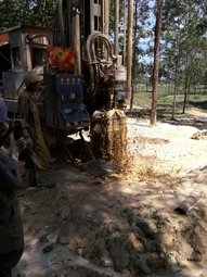 Nambale borehole being drilled and when the main arquifer was sttuck