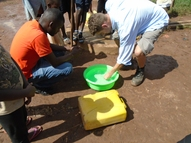 Testing the water quality of a borehole