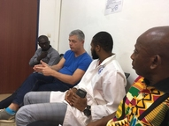 Jos Hooft, Adama, Aboubacar and Dembele discussing non-conformity procedure