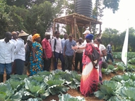 Giving training about gravity drip irrigation in Uganda