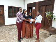 WWX-Yepper from Zambia receiving YEP Tile from Tanzanian Yeppers