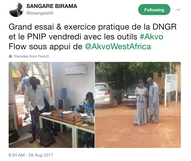 Tweet of Birama Sangaré during the DNGR training in Bamako