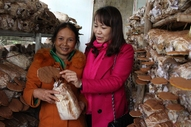 Mrs. Lien and one of the mushroom producers