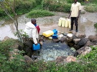 Unprotected spring in Kalungu District