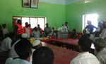 Goods distribution ceremony on emergency response