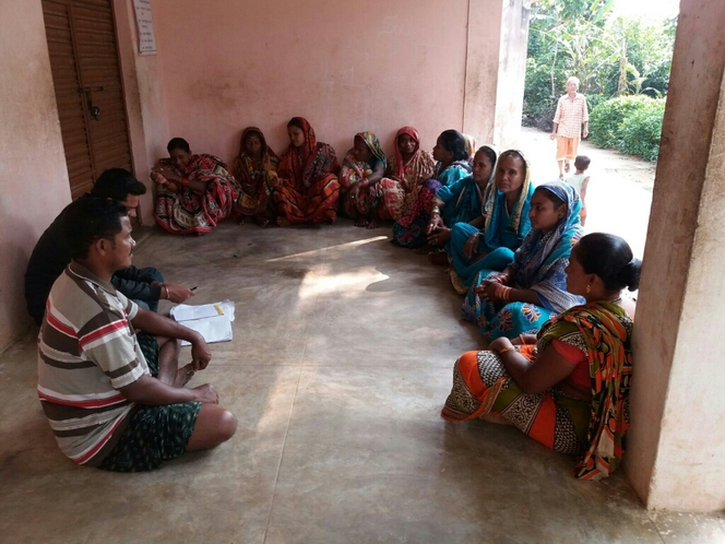 Regular women self help group meeting