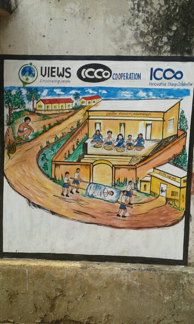 Sanitation awareness through wall paintings