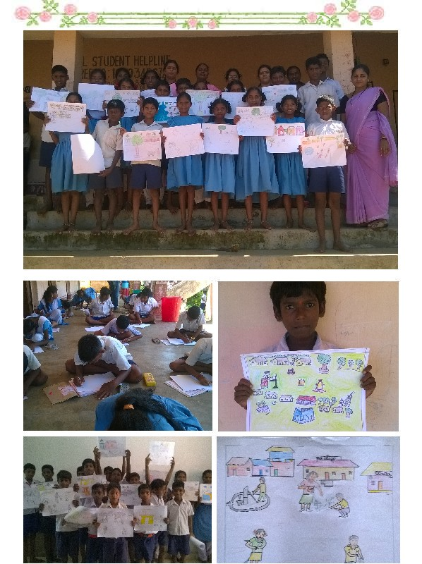 Drawing competition on clean village under sanitation campaign