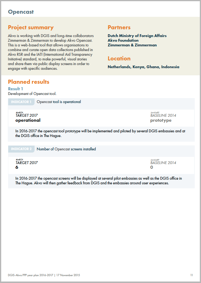 Akvo RSR - First year plan in new report format